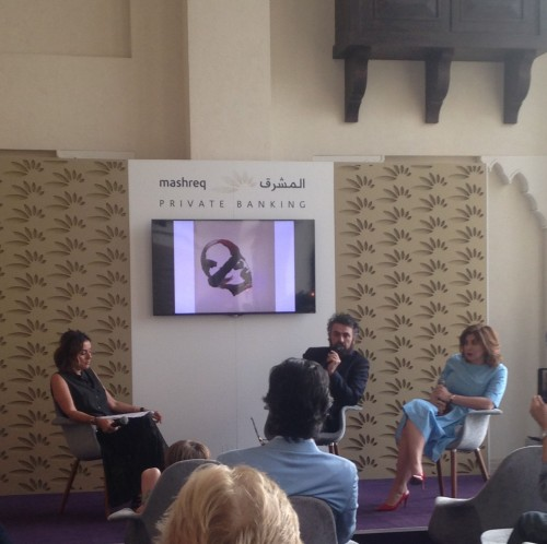 RUYA's Reem Shather Kubba and Tamara Chalabi speak with curator Philippe Van Cauteren at Art Dubai