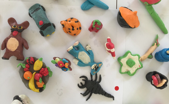 Plasticine figures made by children from Ruya's art workshop in Camp Shariya, June 2015.