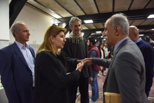 From left: Ruya chairman Tamara Chalabi, Francis Alys and Ruya's artist Salam Atta Sabri. Photo: Ruya Foundation/Ayman al Amiri.