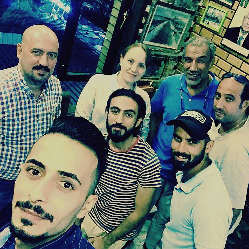 From top left, clockwise: Hussein Munthir, Ruya Admin Coordinator, Furat al Jamil, Iraq Director with photographers Hadi Najjar, Mazin Munther, Muhanad Al Sudani, Ayman Al-Amiri and Zaid Al Obeidi.