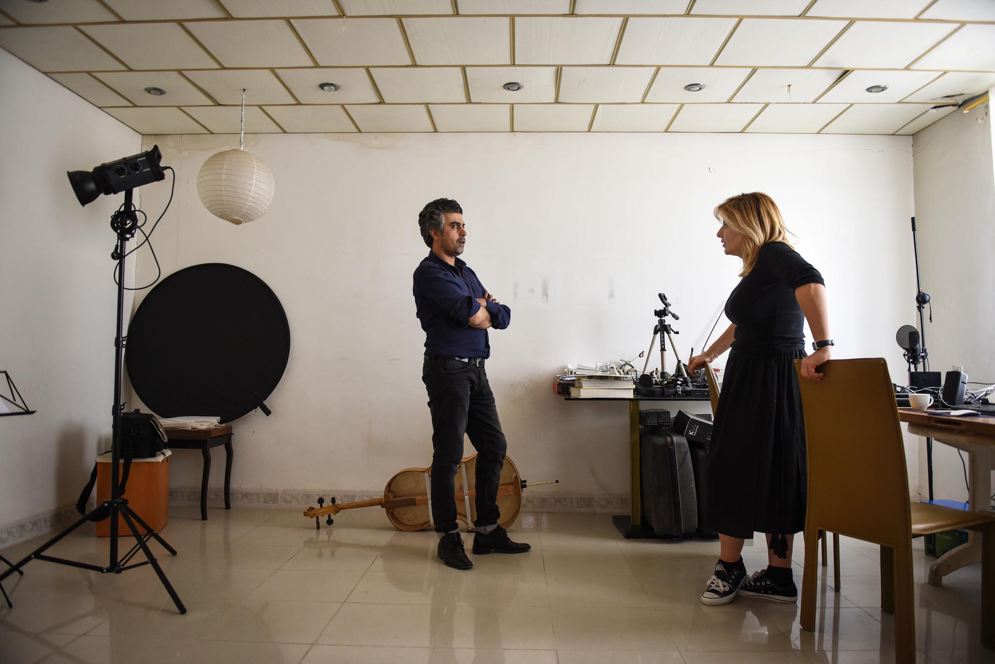 Sherko Abbas and Tamara Chalabi in the artist's studio in Sulaymaniya. Photo: Ruya Foundation