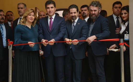 H.E. Prime Minister Mr. Nechirvan Barzani, and Deputy Prime Minister Mr. Qubad Talabani open the Invisible Beauty exhibition with Ruya Foundation's chairman and co-founder Dr. Tamara Chalabi and curator Mr. Philippe Van Cauteren.