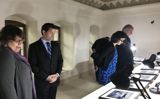Visitors view a display of Latif Al Ani's photographs in the Salih Chalabi house.