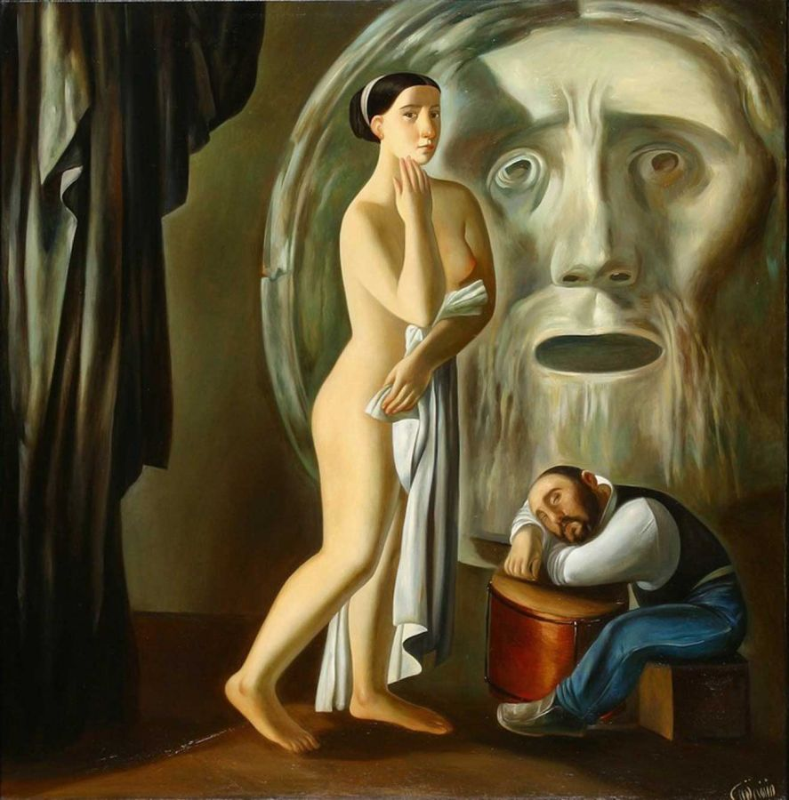 Afifa Aleiby, the Model and the Dwarf, 1986. Courtesy of the artist.