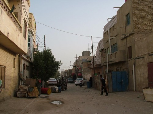 Street outside Aleiby's home in Al Jumhuriya, Basra, in 2004.